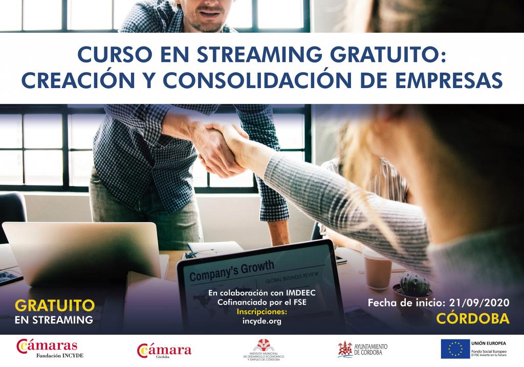 Curso gratuito en streaming 'Autoempleo y consolidación empresarial' de la Fundación INCYDE, para desempleados/as de Córdoba
